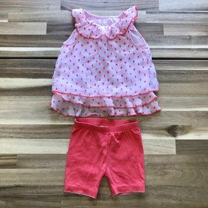 Baby Girl Frilly Tank Dress and Shorts Set Sz 6 Mo